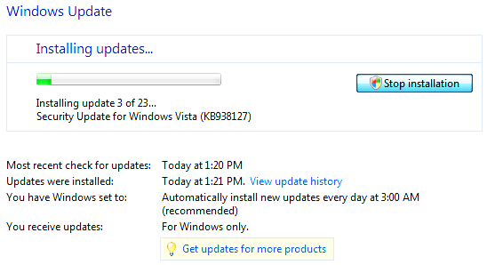 Screenshot of Windows Update running