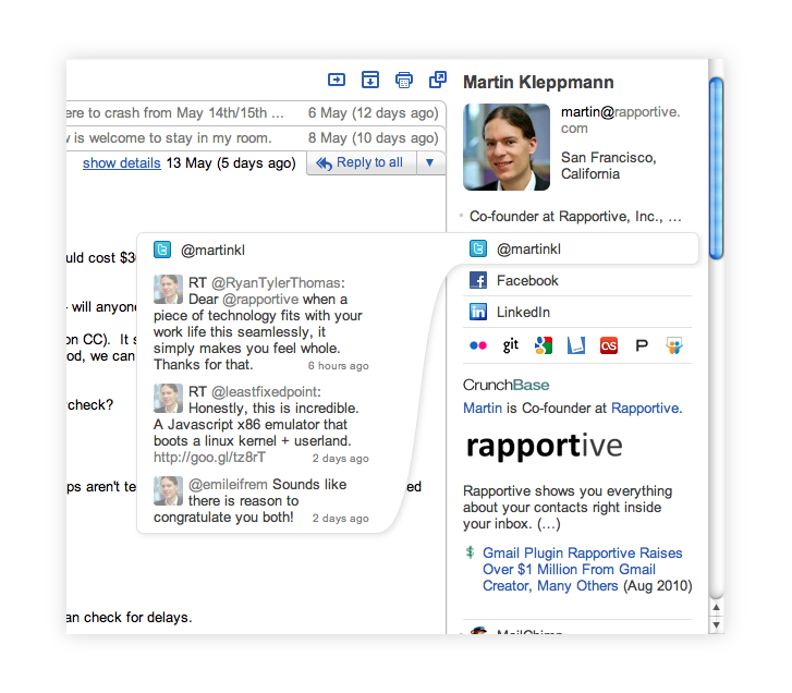 End result: Rapportive's new sidebar design with collapsible section