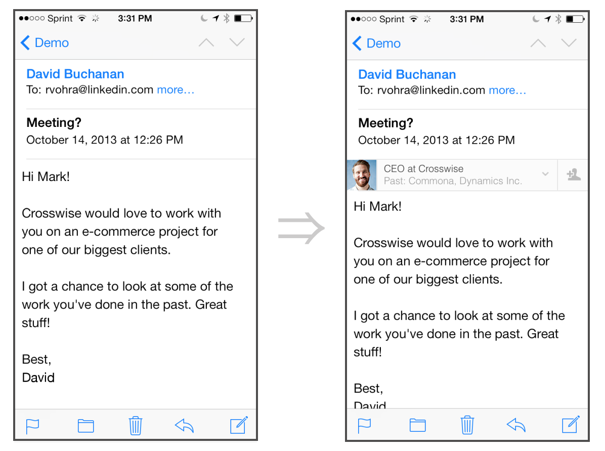 The iPhone mail app, before and after Intro